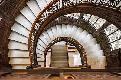 Photograph - Looking Down The Rookery Building Winding Staircase by Anthony Doudt