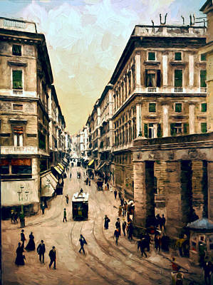 Horse And Buggy Painting - Looking Down Via Roma by John K Woodruff