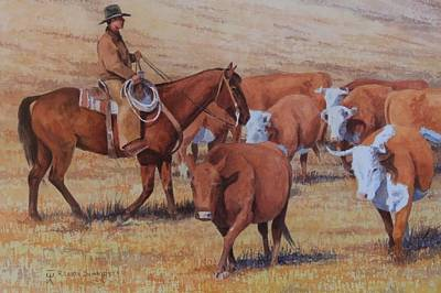 Working Cowboy Painting - Looking For The Banana Horn Cow by Loren Schmidt