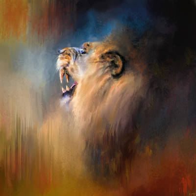Lion Portrait Painting - Looking For The Dentist by Jai Johnson
