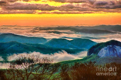 Looking Glass Painting - Looking Glass In The Blue Ridge At Sunrise Ap by Dan Carmichael