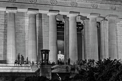Government Photograph - Looking In The Lincoln Memorial At Night In Black And White by Greg Mimbs