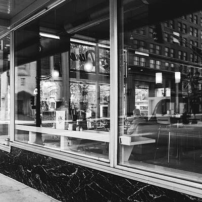 Looking Into A Diner. Black And White Street Photography. Art Print by Dylan Murphy