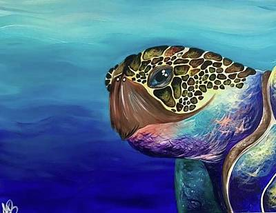 Seaturtle Painting - Looking Into The Eyes Of A Turtle by Annabel Brewster