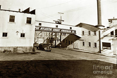 Photograph - Looking North Down, Cannery Row, Monterey Circa 1940 by California Views Mr Pat Hathaway Archives