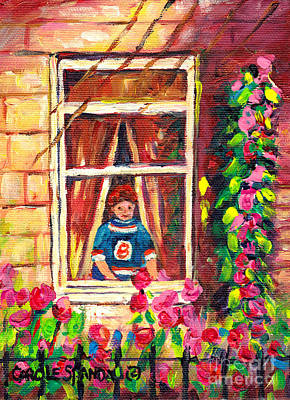 Our National Sport Painting - Looking Out The Window On Garden View Boston Bruin Fan Longing For Hockey Season Carole Spandau by Carole Spandau