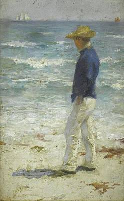 Print featuring the painting Looking Out To Sea by Henry Scott Tuke