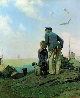 Looking Out To Sea Art Print by Norman Rockwell