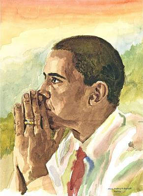 Obama Painting - Looking Presidential by Mimi Boothby