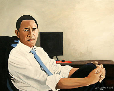 Obama Family Painting - Looking Presidential by Patrick Hunt