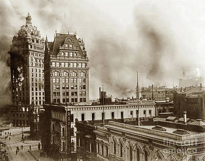 Photograph - Looking South Down Kearny Towards Market St. From Post St. Call Building 1906  by California Views Mr Pat Hathaway Archives