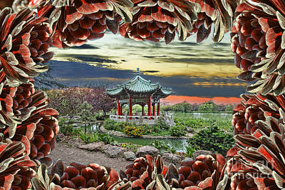 Digital Art - Looking Through An Opening In The Aeonium To The Chinese Pagoda  by Jim Fitzpatrick