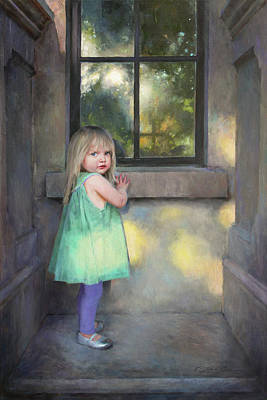 Toddler Portrait Painting - Looking Through by Anna Rose Bain