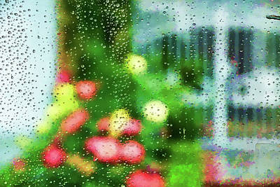 Wet On Wet Digital Art - Looking Through Raindrops On A  Window Artistic  by Linda Brody