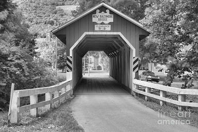 Photograph - Looking Through The New Baltimore Covered Bridge Black And White by Adam Jewell
