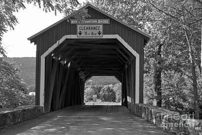 Photograph - Looking Through The New Germantown Covered Bridge Black And White by Adam Jewell