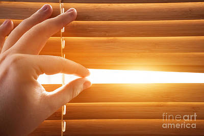 Photograph - Looking Through Window Blinds, Sun Light Coming Inside by Michal Bednarek