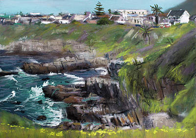 Pastel - Looking Toward Westcliff, Hermanus by Christopher Reid