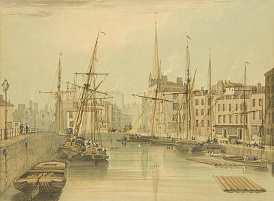 Harbor Drawing - Looking Towards Stone Bridge by Thomas Leeson the Elder Rowbotham