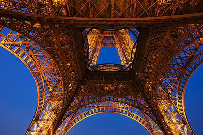 Eiffel Photograph - Looking Up At The Eiffel Tower by Andrew Soundarajan