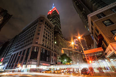 Photograph - Looking Up At The Empire State Building From Fifth Avenue At Night New York Ny by Toby McGuire