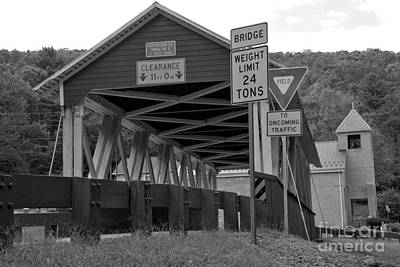 Photograph - Looking Up At The St. Mary Covered Bridge Black And White by Adam Jewell