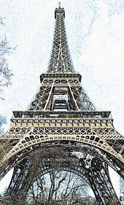 Digital Art - Looking Up At The Sunlit Face Of The Eiffel Tower In Paris France Colored Pencil Digital Art by Shawn O'Brien