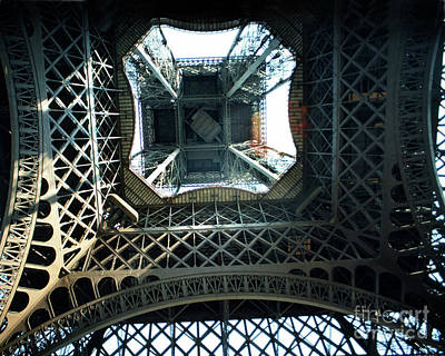 Photograph - Looking Up From The Center Under The Eiffel Tower, Paris 1978 by California Views Mr Pat Hathaway Archives