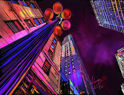 Painting - Looking Up In Chicago by DC Langer