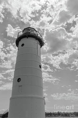 Photograph - Looking Up Manistee Lighthouse Grayscale by Jennifer White