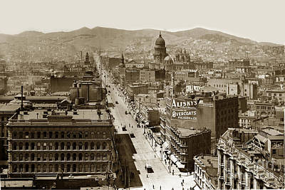Photograph - Looking Up Market Street From The Call Building With City Hall Circa 1900 by California Views Archives Mr Pat Hathaway Archives