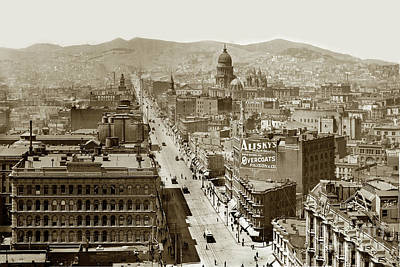 Photograph - Looking Up Market Street From The Call Building With City Hall 1900 by California Views Mr Pat Hathaway Archives