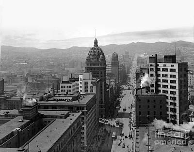 Photograph - Looking Up Market Street To Twin Peaks 1915 by California Views Mr Pat Hathaway Archives