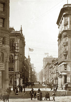 Photograph - Looking Up Montgomery Streets Circa 1900 by California Views Mr Pat Hathaway Archives