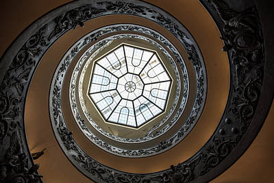 Mellow Yellow - Looking up Spiral Staircase Vatican  by John McGraw