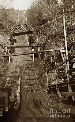 Photograph - Looking Up The Carbonado Incline Railway, Washington State 1903 by California Views Mr Pat Hathaway Archives