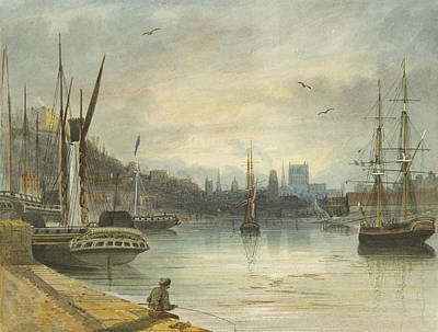 Flying Seagull Painting - Looking Up The Floating Harbor Towards The Cathedral by Thomas Leeson the Elder Rowbotham