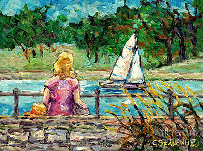 Painting - Lookout Bridge Sailboat Beaver Lake Canadian Seascape Painting Parc Mont Royal C Spandau Landscape   by Carole Spandau