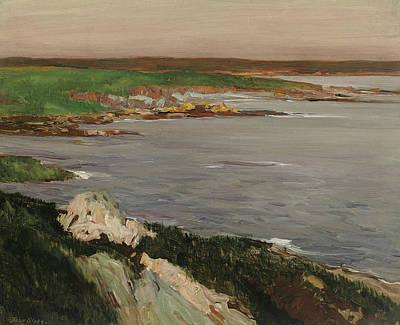 Lookout, Green And Orange Cliffs Art Print by John Sloan
