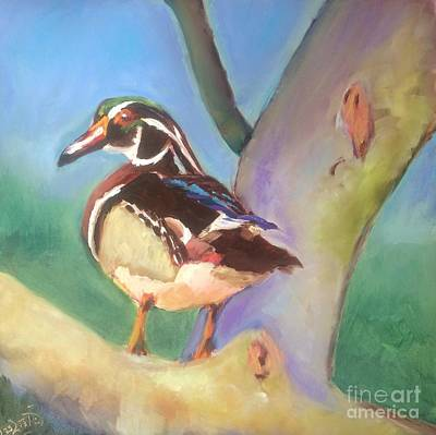 Wood Duck Painting - Lookout by Leslie Dobbins
