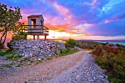 Photograph - Lookout Tower Above Pakostane Archipelago At Golden Sunset by Brch Photography