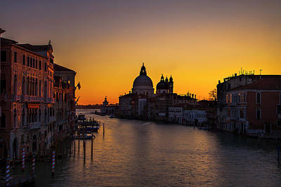 Accademia Photograph - Looming Sunrise Over The Grand Canal by Andrew Soundarajan