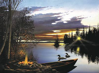 Loon Painting - Loon Lake by Anthony J Padgett
