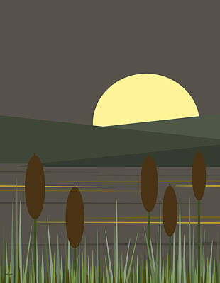 Digital Art - Loon Lake Moonrise by Val Arie