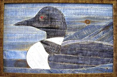 Loon Mixed Media - Loon Lath Art Sold by Rod Skramstad