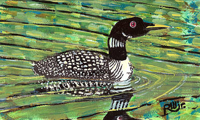 Loon Painting - Loon by Robert Wolverton Jr