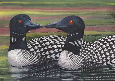 Loon Painting - Looney About Each Other by Catherine G McElroy