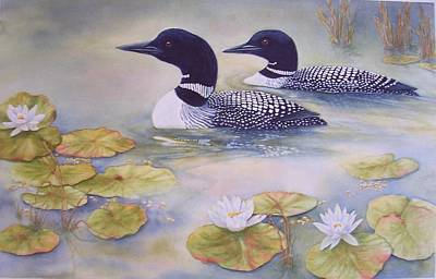 Loons In The Lilies Art Print by Cherry Woodbury