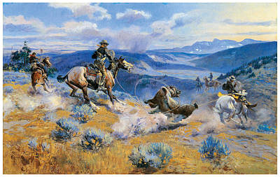 Lassoing Painting - Loops And Swift Horses Are Suere Than Lead by Charles Marion Russell