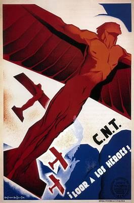 Painting - Loor A Los Heroes - Statue Of A Winged Figure - Spanish Civil War Propaganda - Vintage Poster by Studio Grafiikka